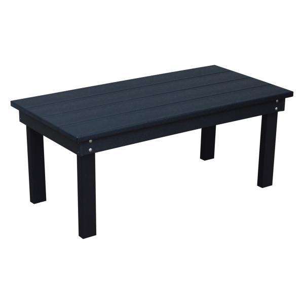 A & L Furniture Recycled Plastic Poly Hampton Coffee Table Coffee Table Black