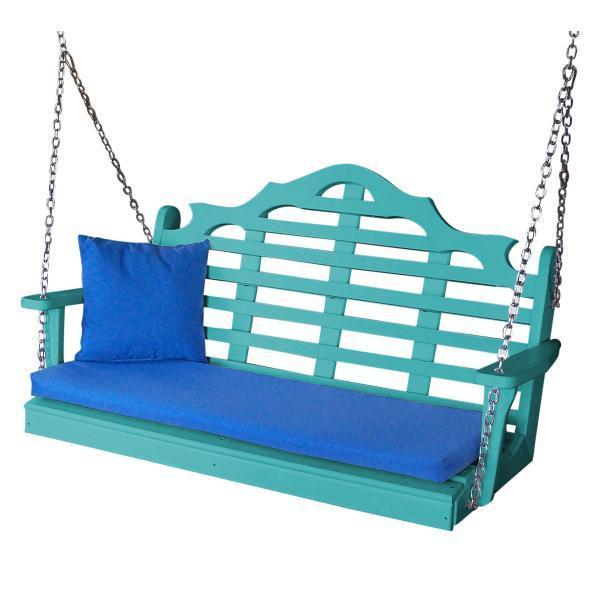 A & L Furniture Recycled Plastic Poly Marlboro Porch Swing Porch Swings 4ft / Aruba Blue