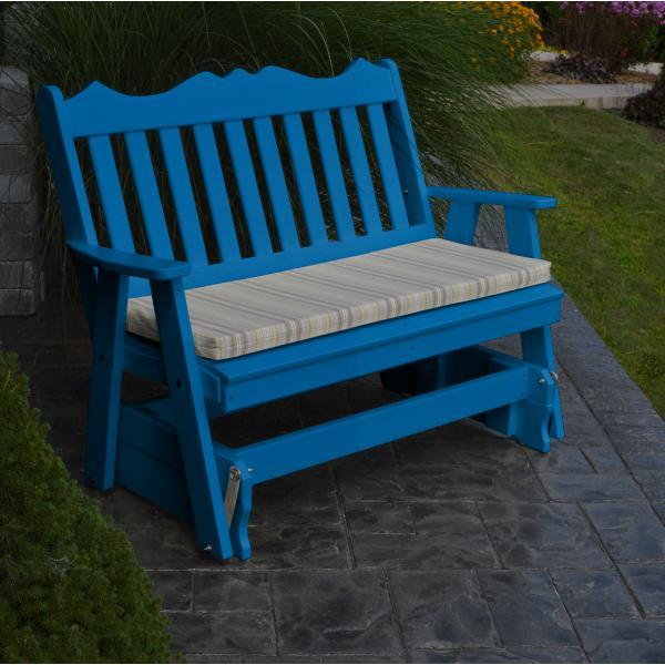 A & L Furniture Recycled Plastic Poly Royal English Glider Glider 4ft / Aruba Blue