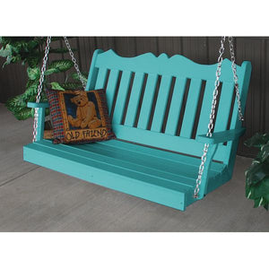 A & L Furniture Recycled Plastic Poly Royal English Porch Swing Porch Swings 4ft / Aruba Blue