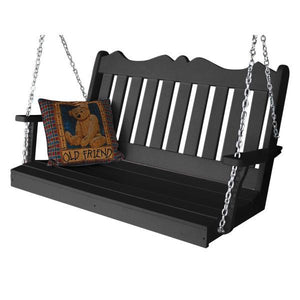 A & L Furniture Recycled Plastic Poly Royal English Porch Swing Porch Swings 4ft / Black
