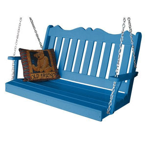 A & L Furniture Recycled Plastic Poly Royal English Porch Swing Porch Swings 4ft / Blue