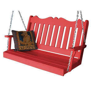A & L Furniture Recycled Plastic Poly Royal English Porch Swing Porch Swings 4ft / Bright Red