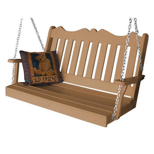 A & L Furniture Recycled Plastic Poly Royal English Porch Swing Porch Swings 4ft / Cedar