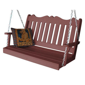 A & L Furniture Recycled Plastic Poly Royal English Porch Swing Porch Swings 4ft / Cherrywood