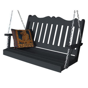 A & L Furniture Recycled Plastic Poly Royal English Porch Swing Porch Swings 4ft / Dark Gray