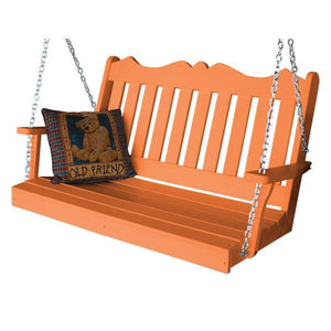 A & L Furniture Recycled Plastic Poly Royal English Porch Swing Porch Swings 4ft / Orange