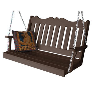 A & L Furniture Recycled Plastic Poly Royal English Porch Swing Porch Swings 4ft / Tudor Brown