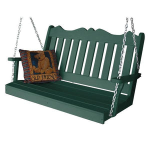 A & L Furniture Recycled Plastic Poly Royal English Porch Swing Porch Swings 4ft / Turf Green