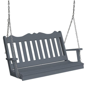 A & L Furniture Recycled Plastic Poly Royal English Porch Swing Porch Swings 5ft / Dark Gray