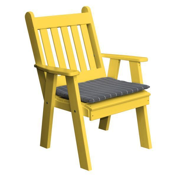 A & L Furniture Recycled Plastic Poly Traditional English Chair Outdoor Chairs Lemon Yellow