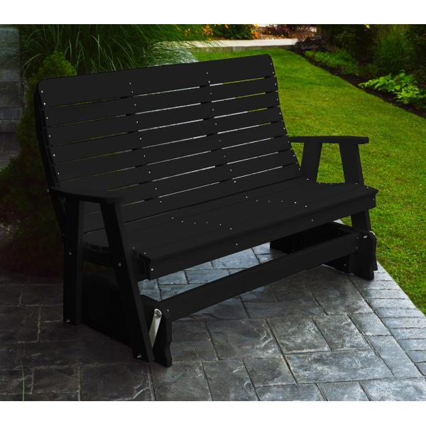 A & L Furniture Recycled Plastic Poly Winston Glider Glider 4ft / Black