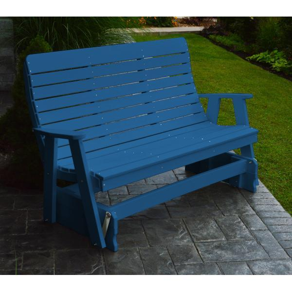 A & L Furniture Recycled Plastic Poly Winston Glider Glider 4ft / Blue
