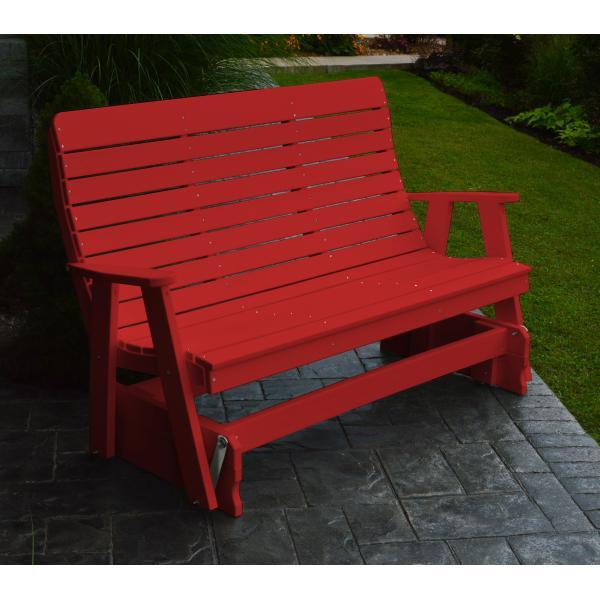 A & L Furniture Recycled Plastic Poly Winston Glider Glider 4ft / Bright Red