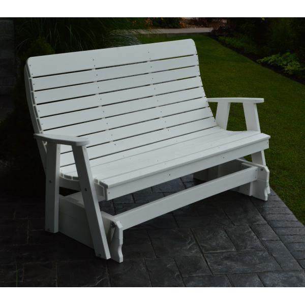 A & L Furniture Recycled Plastic Poly Winston Glider Glider 4ft / White