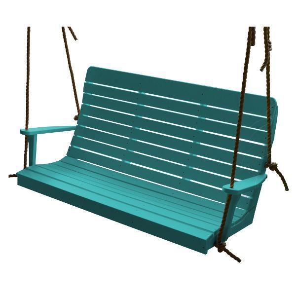 A & L Furniture Recycled Plastic Poly Winston Porch Swing Porch Swings 4ft / Aruba Blue