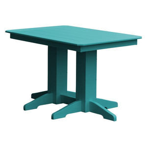 A & L Furniture Recycled Plastic Rectangular Dining Table Dining Table 4ft / Aruba Blue / No