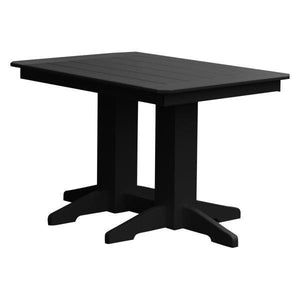 A & L Furniture Recycled Plastic Rectangular Dining Table Dining Table 4ft / Black / No