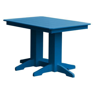 A & L Furniture Recycled Plastic Rectangular Dining Table Dining Table 4ft / Blue / No
