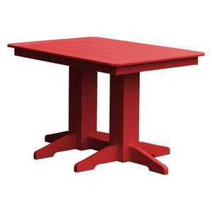 A & L Furniture Recycled Plastic Rectangular Dining Table Dining Table 4ft / Bright Red / No