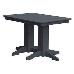A & L Furniture Recycled Plastic Rectangular Dining Table Dining Table 4ft / Dark Gray / No