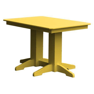 A & L Furniture Recycled Plastic Rectangular Dining Table Dining Table 4ft / Lemon Yellow / No