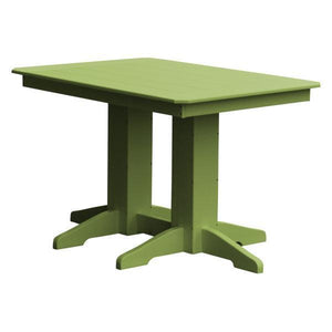 A & L Furniture Recycled Plastic Rectangular Dining Table Dining Table 4ft / Tropical Lime / No