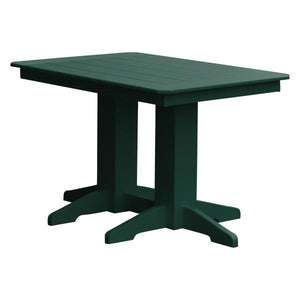 A & L Furniture Recycled Plastic Rectangular Dining Table Dining Table 4ft / Turf Green / No