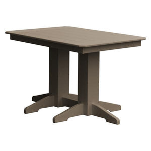 A & L Furniture Recycled Plastic Rectangular Dining Table Dining Table 4ft / Weathered Wood / No