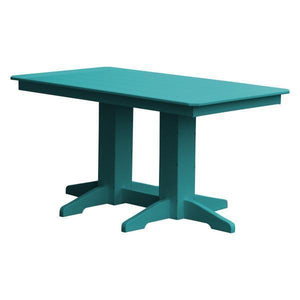 A & L Furniture Recycled Plastic Rectangular Dining Table Dining Table 5ft / Aruba Blue / No