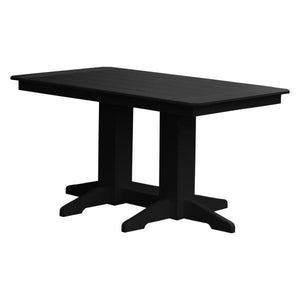 A & L Furniture Recycled Plastic Rectangular Dining Table Dining Table 5ft / Black / No