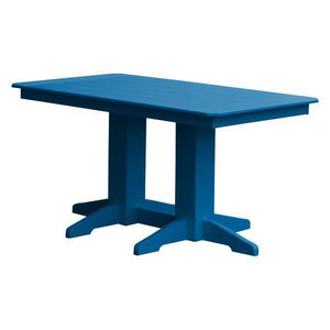 A & L Furniture Recycled Plastic Rectangular Dining Table Dining Table 5ft / Blue / No