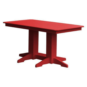 A & L Furniture Recycled Plastic Rectangular Dining Table Dining Table 5ft / Bright Red / No
