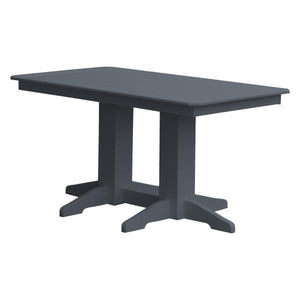 A & L Furniture Recycled Plastic Rectangular Dining Table Dining Table 5ft / Dark Gray / No