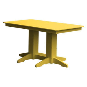 A & L Furniture Recycled Plastic Rectangular Dining Table Dining Table 5ft / Lemon Yellow / No