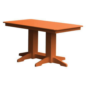 A & L Furniture Recycled Plastic Rectangular Dining Table Dining Table 5ft / Orange / No
