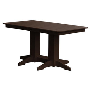 A & L Furniture Recycled Plastic Rectangular Dining Table Dining Table 5ft / Tudor Brown / No