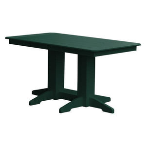 A & L Furniture Recycled Plastic Rectangular Dining Table Dining Table 5ft / Turf Green / No