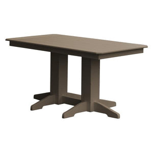 A & L Furniture Recycled Plastic Rectangular Dining Table Dining Table 5ft / Weathered Wood / No