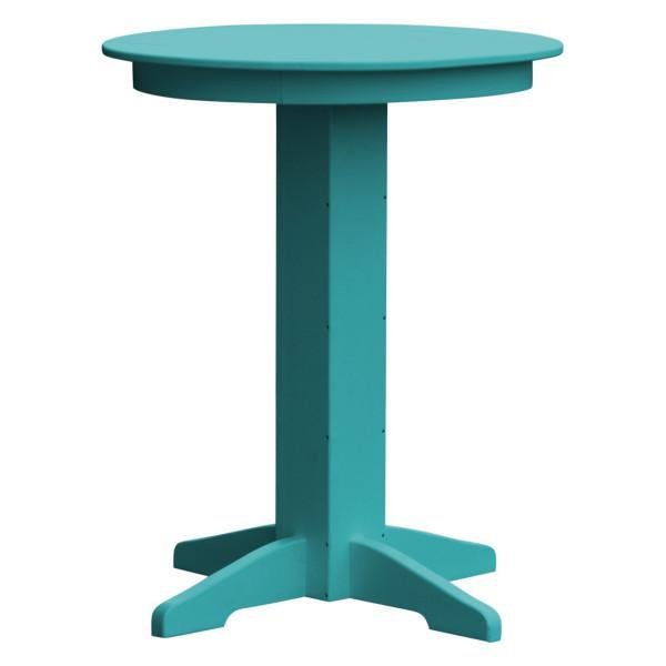 "A & L Furniture Recycled Plastic Round Bar Table Bar Table 33"" / Aruba Blue / No"