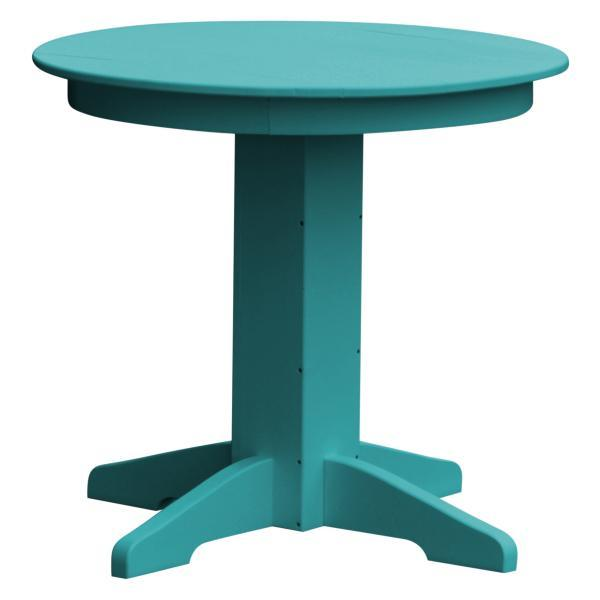 "A & L Furniture Recycled Plastic Round Dining Table Table 33"" / Aruba Blue"