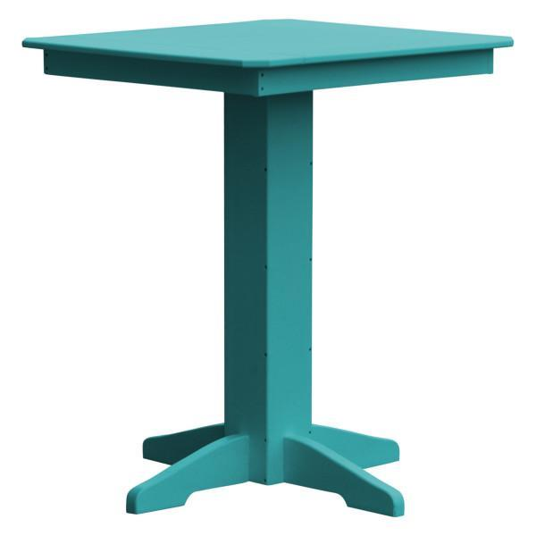 "A & L Furniture Recycled Plastic Square Bar Table Bar Table 33"" / Aruba Blue / No"
