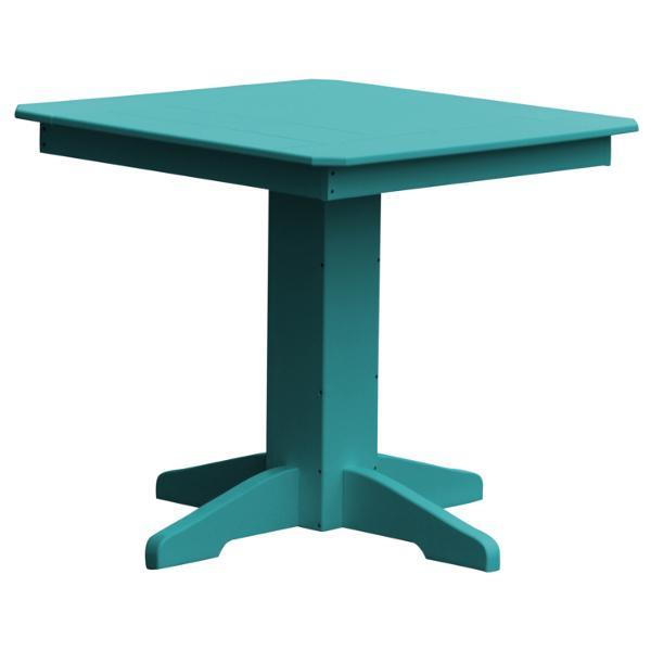 "A & L Furniture Recycled Plastic Square Dining Table Table 33"" / Aruba Blue"