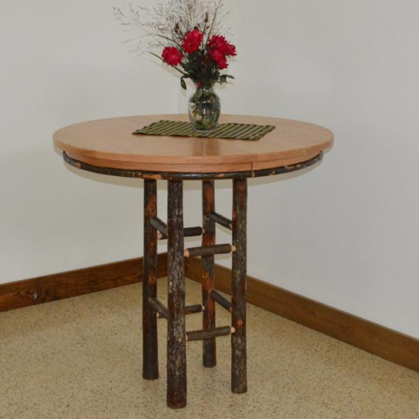 "A & L Furniture Round Hickory Bar Table Table 33"" / Natural"