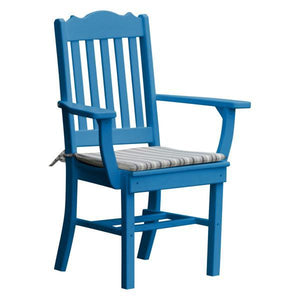 A & L Furniture Royal Dining Chair w/ Arms Outdoor Chairs Blue