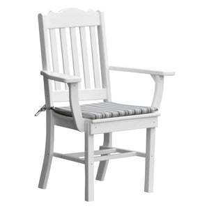 A & L Furniture Royal Dining Chair w/ Arms Outdoor Chairs White