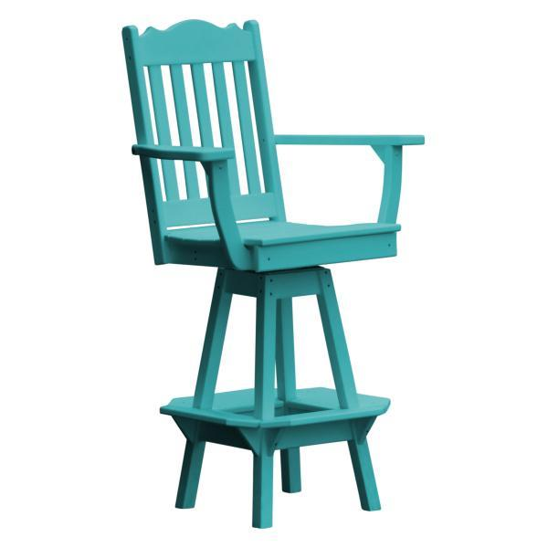 A & L Furniture Royal Swivel Bar Chair w/ Arms Outdoor Chairs Aruba Blue