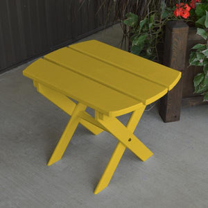 A & L Furniture Solid Knotfree Yellow Pine Folding Oval End Table Table Canary Yellow