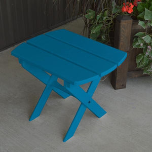 A & L Furniture Solid Knotfree Yellow Pine Folding Oval End Table Table Caribbean Blue