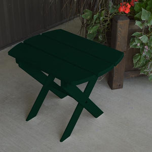 A & L Furniture Solid Knotfree Yellow Pine Folding Oval End Table Table Dark Green